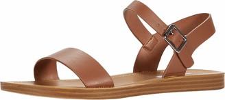 Steve Madden League Flat Sandal Black Leather 7.5