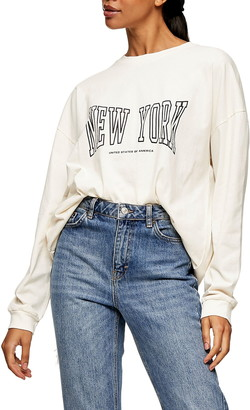 Topshop New York Long Sleeve Graphic Tee