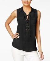 Amy Byer Juniors' Lace-Up Sleeveless Shirt