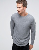 Selected Long Sleeve O-Neck Top with Curved Hem