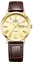 Rotary Gs90156/09 Les Originales Windsor Day Date Leather Strap Watch, Brown/gold