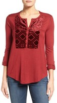 Lucky Brand Burnout Velvet Bib Knit Top