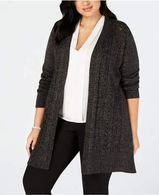 Karen Scott Plus Size Pointelle Open-Front Cardigan