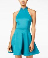 Teeze Me Juniors' Embellished Scuba Fit & Flare Dress