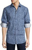 English Laundry Pixelated Button-Front Sport Shirt, Navy Box