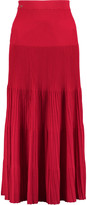 Vionnet Pleated ribbed cotton-blend midi skirt