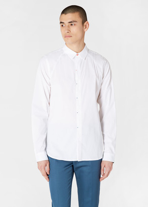 Paul Smith Men's Slim-Fit White Shirt With Multi-Colour Bar Tack Detail
