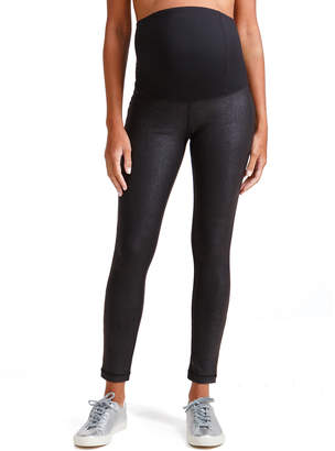 Ingrid & Isabel Maternity Leather-Like Active Leggings w/ Crossover Panel