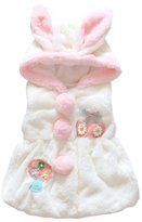 Aivtalk Baby Girls Rabbit Pattern Pom Front Faux Fur Vest Outwear Size 80