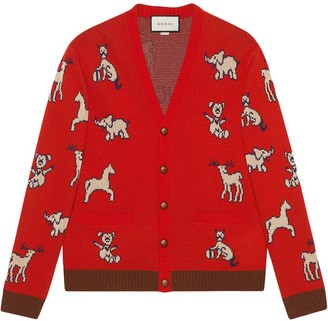 Gucci Hawaii animal pattern cardigan