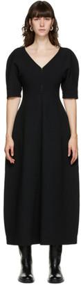 Jil Sander Black Wool V-Neck Dress