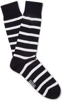 Armor Lux Striped Stretch Cotton-blend Socks - Navy