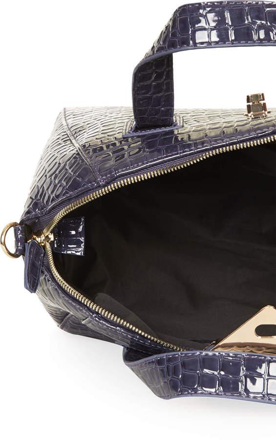 Topshop Croc Twist-Lock Winged Holdall Bag