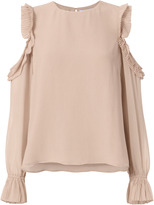 Exclusive for Intermix Nelly Ruffle Cold Shoulder Top Nude 2 2