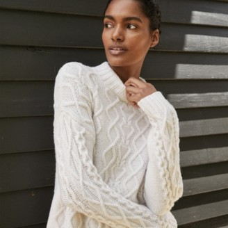 The White Company Cable Jumper with Alpaca, Winter White, Extra Small