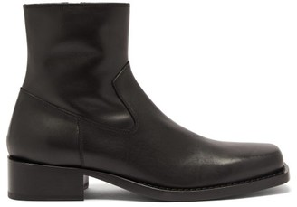 Ann Demeulemeester Square-toe Leather Ankle Boots - Black