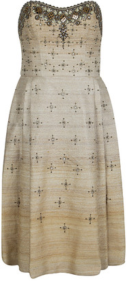 Carolina Herrera Beige Ombre Raw Silk Embellished Strapless Dress M