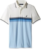 Nautica Men's Short Sleeve Oxford Pique Slim Fit Polo with Graduated Stripe