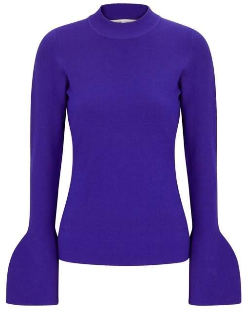 Diane von Furstenberg Cobalt Flared-cuff Stretch-knit Jumper