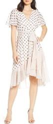 Eliza J Polka Dot Chiffon Faux Wrap Dress