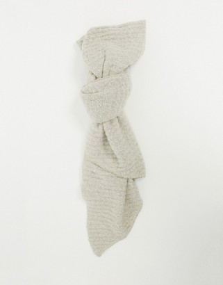 Pieces ribbed extra long scarf in cream