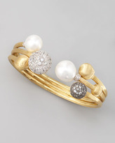 Marco Bicego Africa Pave Sapphire & Pearl Gold Bangle