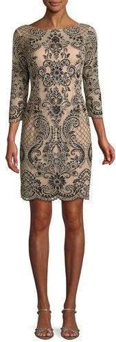 Aidan Mattox Boat-Neck 3/4-Sleeve Damask Embroidered Sheath Cocktail Dress