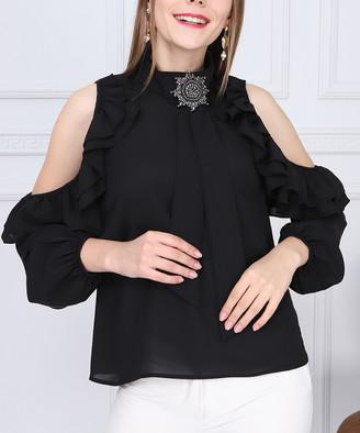 New Laviva Women's Blouses Black - Black Ruffle Cutout Mock Neck Top - Women