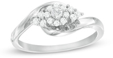 Zales 1/4 CT. T.W. Composite Diamond Frame with Tri-Sides Engagement Ring in 10K White Gold