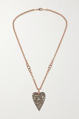 Sylva & Cie 14-karat Rose Gold And Oxidized Sterling Silver Diamond Necklace