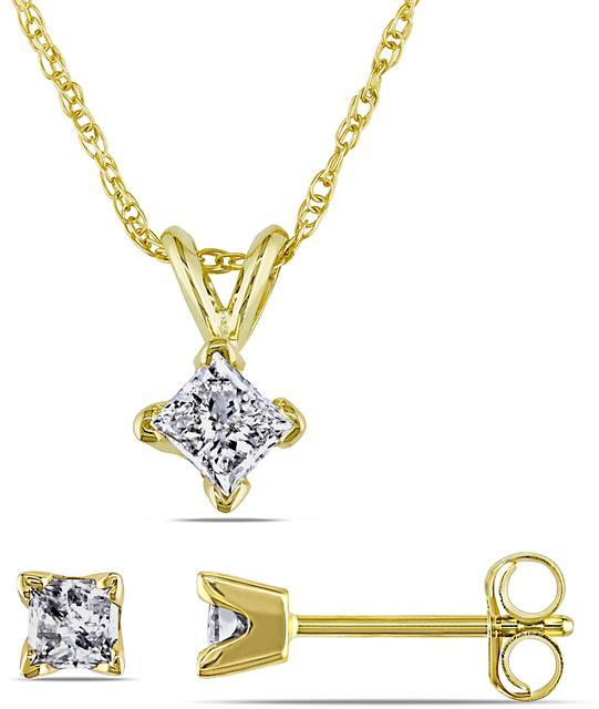 Julie Leah 2/3 CT TW Diamond 14K Gold Solitaire Necklace and Stud Earrings Set