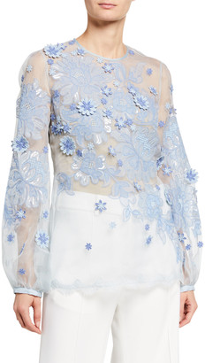 Andrew Gn Floral-Embroidered Chiffon Puff Sleeve Blouse