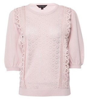 Dorothy Perkins Womens Blush Lace Front T