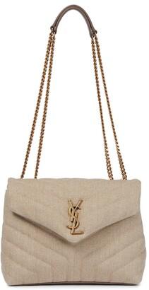 Saint Laurent Loulou Small linen shoulder bag