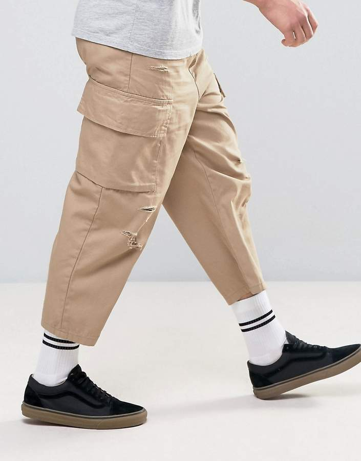 Asos Oversized Cropped Cargo Pants With Rip And Repair Details In Sand