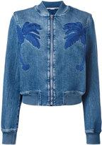 Stella McCartney palm patch zip bomber jacket - women - Cotton/Spandex/Elastane - 38