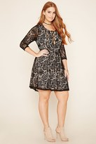 Forever 21 FOREVER 21+ Plus Size Crochet Lace-Up Dress