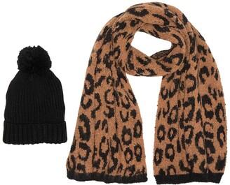Steve Madden Pompom Beanie & Leopard Print Knit Scarf 2-Piece Set