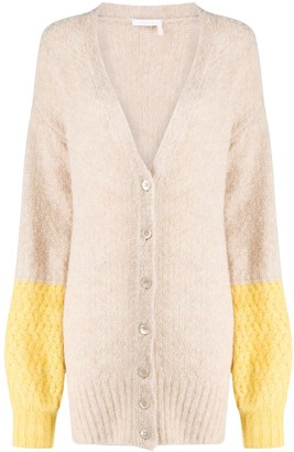 See by Chloe Longline Colour-Block Cardigan