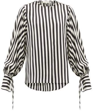 Lee Mathews - Nicolas Balloon Sleeve Striped Silk Blouse - Womens - Black White