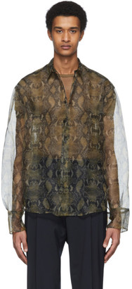 Cmmn Swdn Beige and Black Snake Bas Long Sleeve Shirt