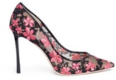 Jimmy Choo 'Romy 100' floral embroidered mesh pumps