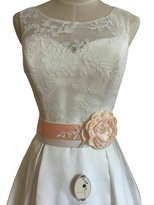 Lemandy One camellias wedding sash with bling appliques P03