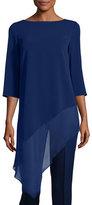 St. John Cady Asymmetric-Hem 3/4-Sleeve Top, Violet