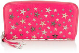 Jimmy Choo FILIPA Shocking Pink Leather Wallet with Crystal Star