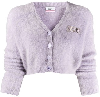 GCDS Cropped Button-Up Cardigan