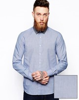 Asos Smart Shirt In Long Sleeve With End On End And Contrast Collar
