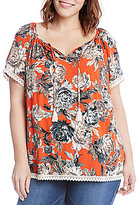 Karen Kane Plus Short Sleeve Tassel Tie Top