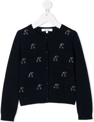 Bonpoint Cherry-Embellished Knit Cardigan