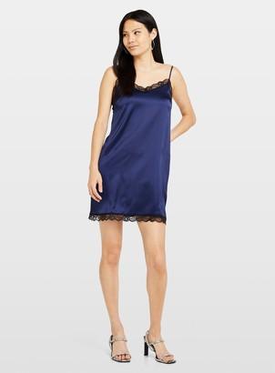 Miss Selfridge Navy Lace Trim Slip Dress